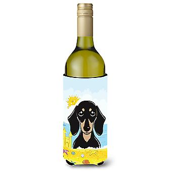 Smooth Black and Tan Dachshund Summer Beach Wine Bottle Koozie Hugger BB2083LITERK