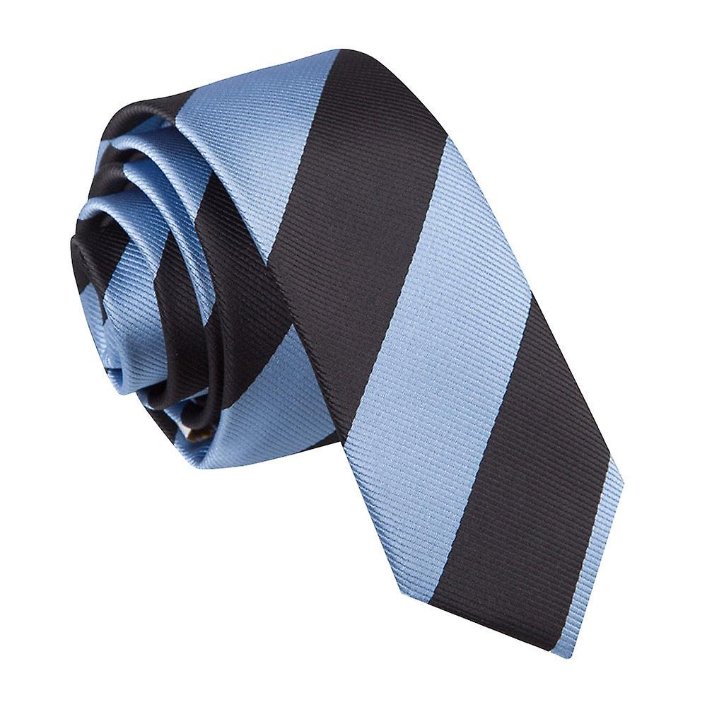 Baby Blue & Black Striped Skinny Tie