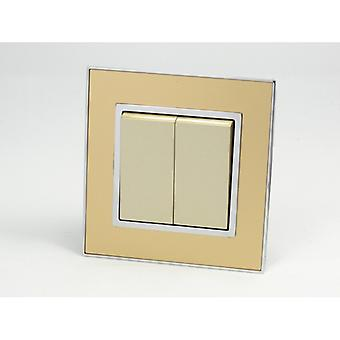 I LumoS AS Luxury Gold Mirror Glass Single Frame Rocker Light Switches