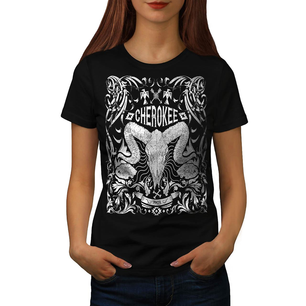 Native Culture Skull Animal Head Women Black T-shirt | Wellcoda