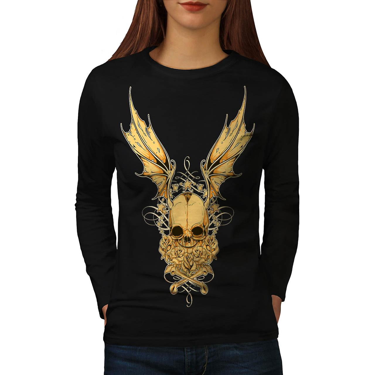 Rose Metal Devil Skull Women Black Long Sleeve T-shirt | Wellcoda
