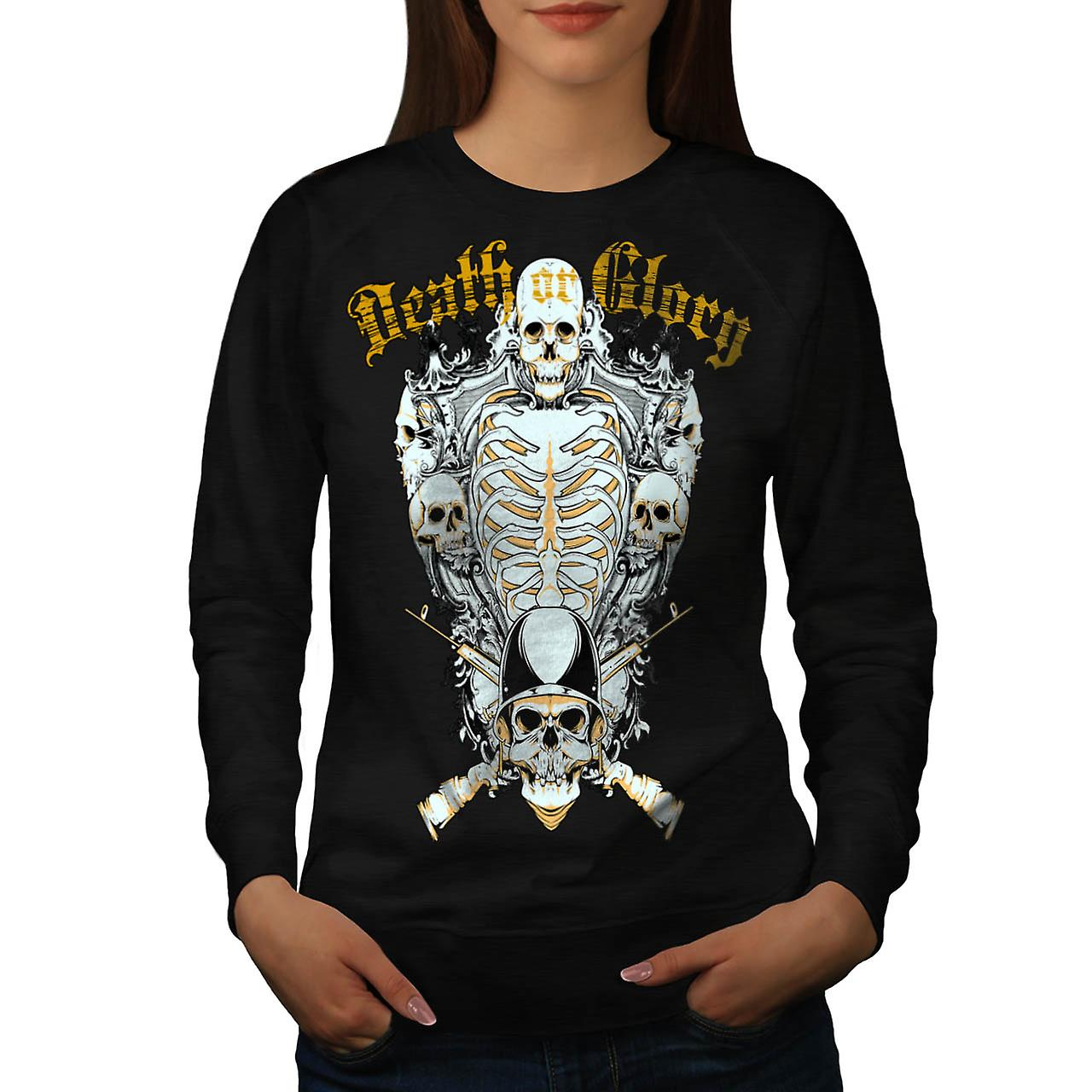 Death Glory Grave Gun Skull Army Women Black Sweatshirt | Wellcoda