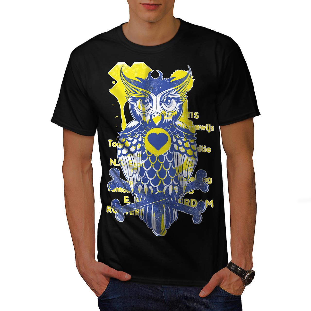 Rotterdam Wild Owl Bird Bones Men Black T-shirt | Wellcoda