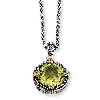 Sterling Silver With 14k 5.00Lemon Quartz 18inch Necklace - 5.00 cwt