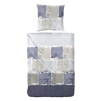 COCK Maco Satin Bed linen blue patterned 135 x 200 cm