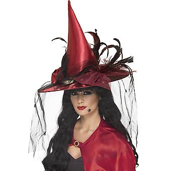 Smiffys Red Witch Hat Deluxe Net Feathers Womens Fancy Dress Halloween Accessory