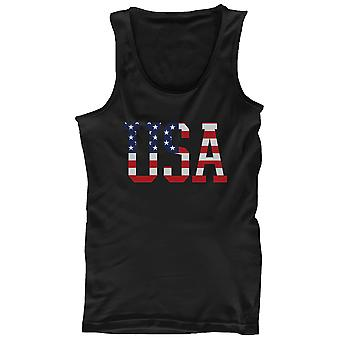 Men's Black Tank Top - American Flag USA Design Tanktop
