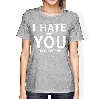 I Hate You Womens Heather Grey Tshirt Creative Valentines Day Gift