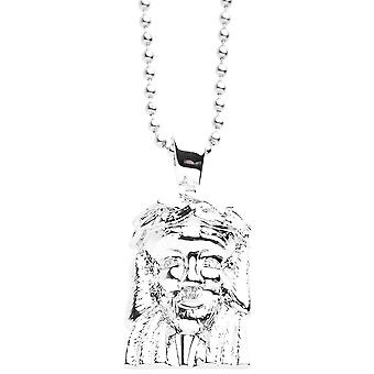 Iced out bling micro pave necklace - MINI JESUS III silver