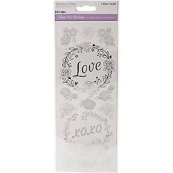 MultiCraft Clear Foil Stickers-Love Silver SS148-H