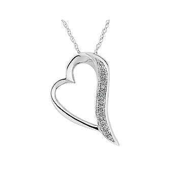 Accent Diamond 1/20 Carat (ctw I2-I3, I-J) Heart Pendant Necklace in 10K White Gold with Chain