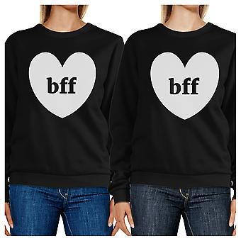 Bff Hearts Crewneck Fleece Black Sweatshirts Funny Matching Tops
