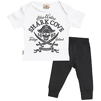 Spoilt Rotten Pirate Print Baby T-Shirt & Baby Jersey Trousers Outfit Set