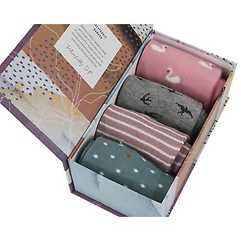 Country Gift Box by Thought | 4 pairs women's soft bamboo crew socks