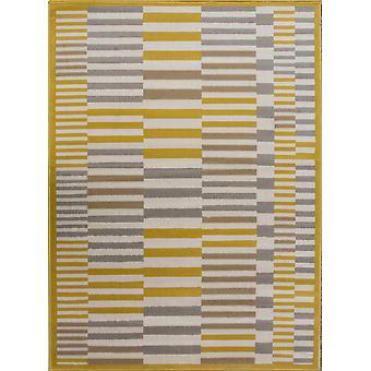 Nordic oker en grijs gestreepte geometrische tapijten - Milaan