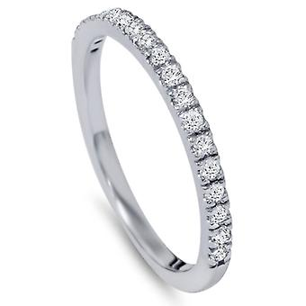 Diamant Ehering Band 0,30 Karat Womens 14K White Gold Classic traditionelle