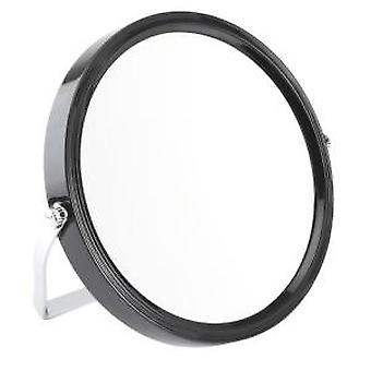 5x Magnification Black Framed Round Travel Mirror