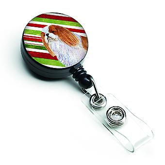 English Toy Spaniel Candy Cane Holiday Christmas Retractable Badge Reel