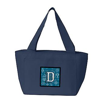 Lettera D mare Doodles Alfabeto iniziale Lunch Bag
