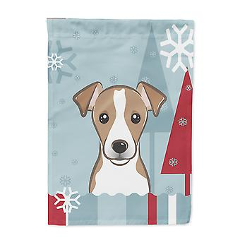 Winter Holiday Jack Russell Terrier Flag Canvas House Size