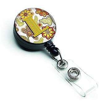 Letter L Floral Mustard and Green Retractable Badge Reel