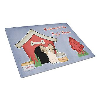 Dog House Collection Papillon Sable White Glass Cutting Board Large