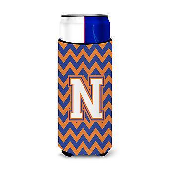 Letter N Chevron Blue and Orange Ultra Beverage Insulators for slim cans