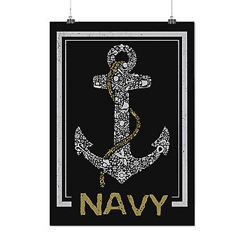 Matte or Glossy Poster with Navy Anchor Sea Vintage | Wellcoda | *d2371
