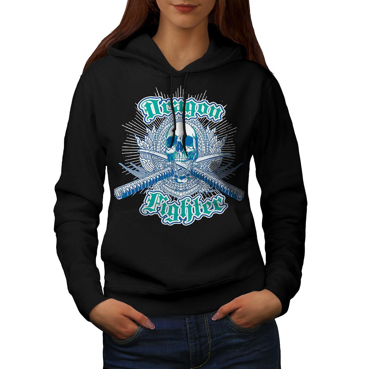 Dragon Fighter Vintage Women Black Hoodie | Wellcoda