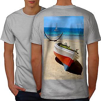 Boat Beautiful Sea Men GreyT-shirt Back   Wellcoda