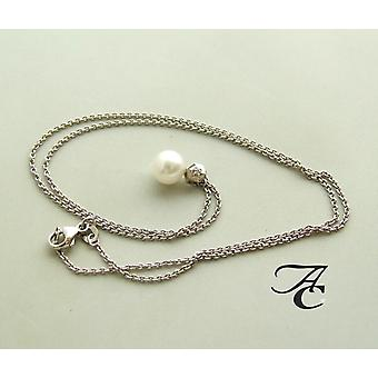 White gold necklace and pendant with Pearl and diamond