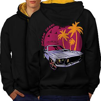 America Muscle Car Men Black (Gold Hood)Contrast Hoodie Back | Wellcoda