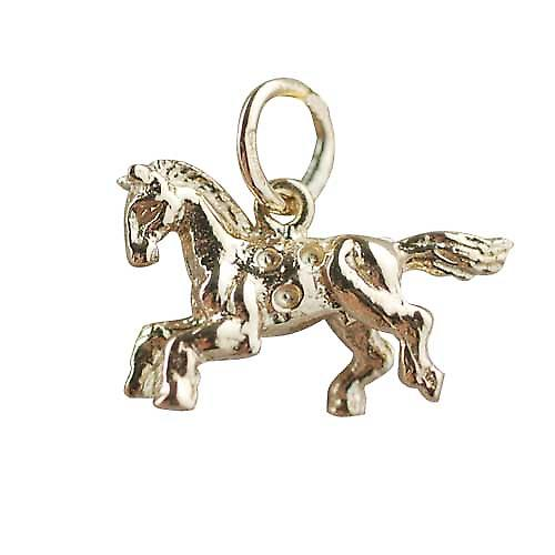 9ct Gold 11x17mm Fair Ground Carousel Horse Pendant or Charm