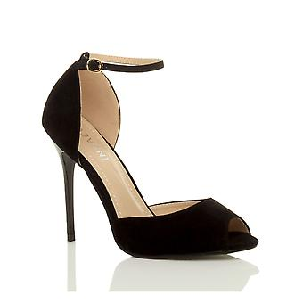 4f695f3a04d Ajvani womens evening party stiletto high heel ankle strap buckle sandals  peep toe court shoes