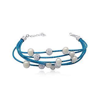 5 rzędów skórzane niebieskie, białe perły i bransolety kryształ