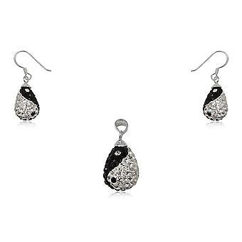 Smykker anheng og øredobber Yin Yang i 925 sølv og Crystal svart-hvitt