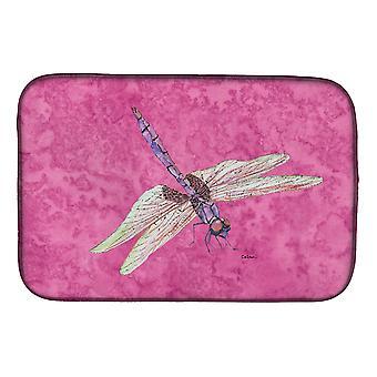 Carolines tesori 8891DDM Libellula sul piatto rosa Mat di essiccazione