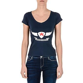 Andrew Charles Womens T-shirt Short Sleeves V-neck Blue Tapiwa