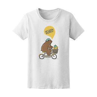 Funny Fat Bear On Bicycle Tee Women's -Image by Shutterstock