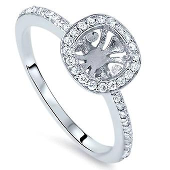 Ajuste de ct 1/3 amortiguador Halo anillo de compromiso 14K oro blanco
