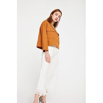 Cubic Cropped Trousers With Frayed Hem
