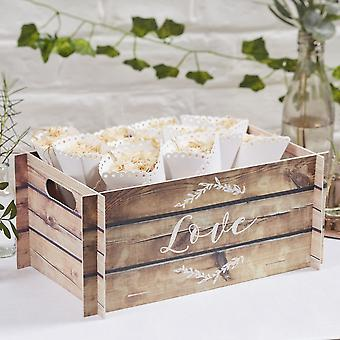 Wooden Effect Card Crate Botanics Range - Confetti Holder/ Wedding Card Box