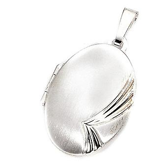 Medallion partially frosted oval Sterling Silver Pendant silver of CLASSIC