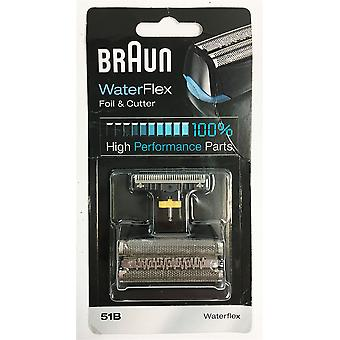 Braun WaterFlex 51B Electric Shaver Replacement Foil and Cutter - Black