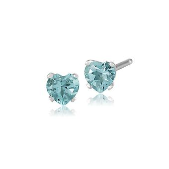 Gemondo 9ct White Gold 0.42ct Aquamarine 4 Claw Set Heart Stud Earrings 4x4mm