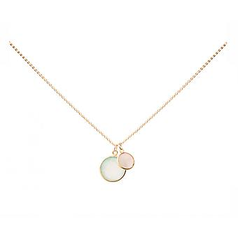 Gemshine - ladies - necklace - pendants - chalcedony - Rose Quartz - green - pink - gold plated 925 Silver - 45 cm