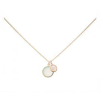 Gemshine - ladies - collana - ciondoli - calcedonio - quarzo rosa - verde - rosa - oro placcato argento 925 - 45 cm