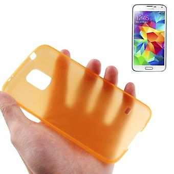 Housse de protection boîtier ultra mince 0,3 mm pour mobile Samsung Galaxy S5 / S5 neo orange transparent