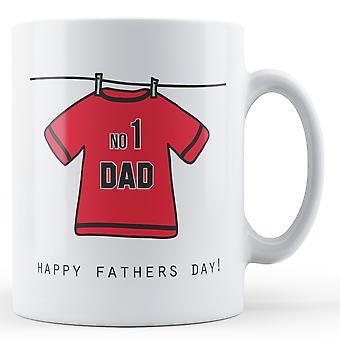 No1 pappa! Fäder dag fotbollströja (röd) - tryckt mugg