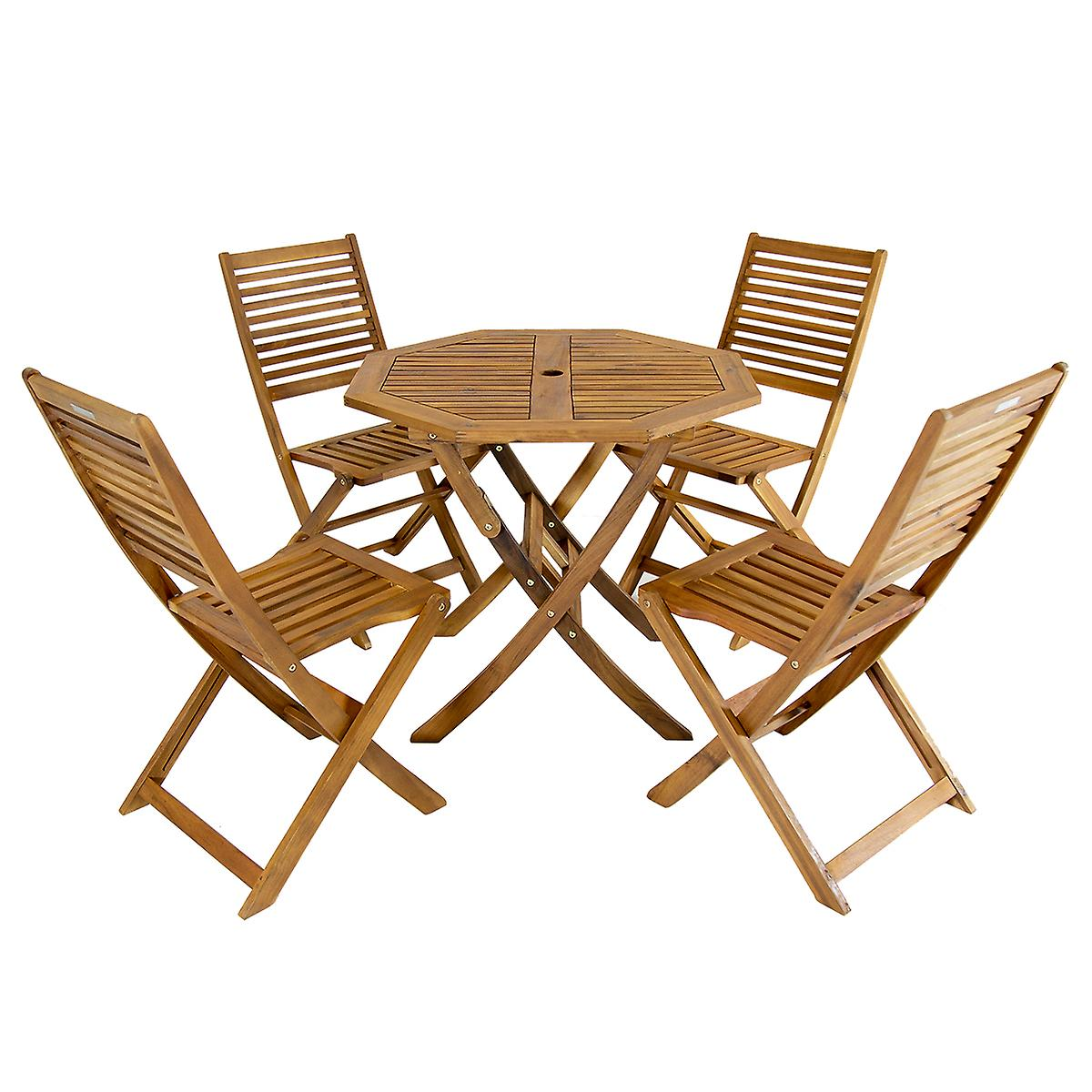 Chairs Charles Fsc Bentley Acacia Tableamp; Wooden Octagonal 5pc Set BdCxoe